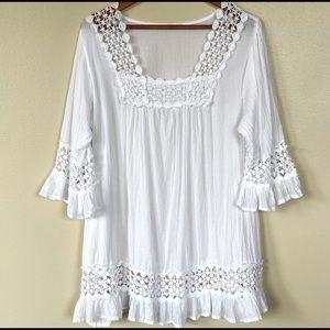 Boho Cotton Lace Trim Full Sleeve Mini Dress
